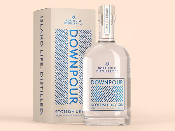 Packaging di lusso con nobilitazione vernice a rilievo per gin Downpour