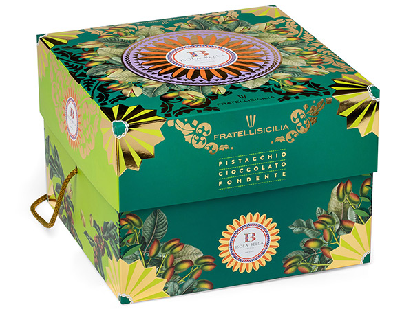 Shimmering bottom and lid box for pistachio panettone